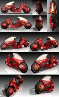 Kaneda's Motorcycle from Manga movie AKIRA. This was for a school project using a Parametric CAD Modeling software called Inventor by AutoDesk. Based on the McFarlane Toys model so not Arch Motorcycle, Tracker Motorcycle, Cafe Racer Motorcycle, Motorcycle Clubs, Motorcycle Garage, Motorcycle Design, Steampunk Motorcycle, Motorcycle Workshop, Motorcycle Couple