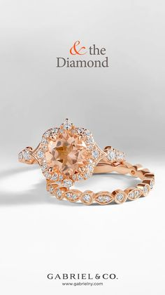 Paired with rose gold, this piece makes a stunning eye catching statement that will never be over looked! 😍 Style: ER914411R8K44JJ.CSMO_LR5701K45JJ#GabrielNY #UniqueJewelry #morganite #rosegold #engagementring #EngagementRings #VintageEngagementRings #RoseGoldEngagementRings #MorganiteEngagementRing #RoundHaloEngagementRings #GoldRing #RoseGoldRing #DiamondRing