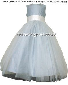 Cloud Blue and Antique White Silk and Tulle Ballerina Style Flower Girl Dresses by Pegeen.com