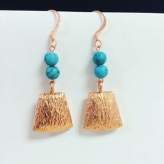 Turquoise and Copper Earrings by EcclecticSouls on Etsy