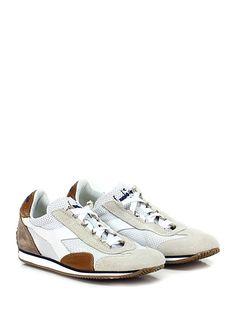 DIADORA Heritage - Sneakers - Donna - Sneaker in pelle micro forata e camoscio con suola in gomma, tacco 15. - WHITE\BROWN - € 175.00