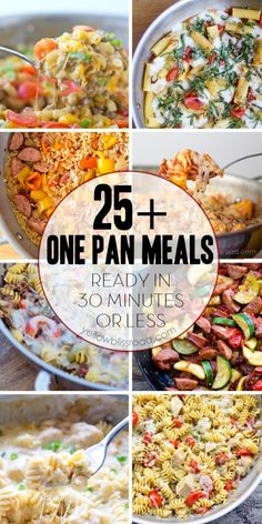 Here you will find delicious meals for your family, that are all cooked just in one pan and in under 30 minutes! In most cases, the pasta or rice cooks right in the pan with the meats and veggies. | Yellow Bliss Road