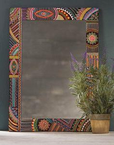Hand Painted Wooden Mirror > Mirrors > Home & Gifts > Namaste Fair Trade > Namaste-UK Ltd Wood Framed Mirror, Mirror Wall Art, Mirror Painting, Painting Frames, Painting On Wood, Framed Art, Diy Mirror, Painted Doors, Painted Mirrors