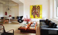 Art dealer Brent Sikkema's Manhattan loft. Like the long banquette.