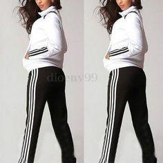 Women Slim Zipper Top Hoody Sport Pants Tracksuit Sweatshirt Yoga Jogging Suit