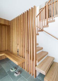 Best Photos from Deertrack Lane Staircase, Wood Tread, and Wood Railing Entry bench, screen and stair Photo 1 of 28118 in Best Phot Wooden Staircase Design, Wood Railing, Wooden Staircases, Stair Railing, Wood Stairs, Railings, Open Basement Stairs, Rustic Basement, Open Staircase
