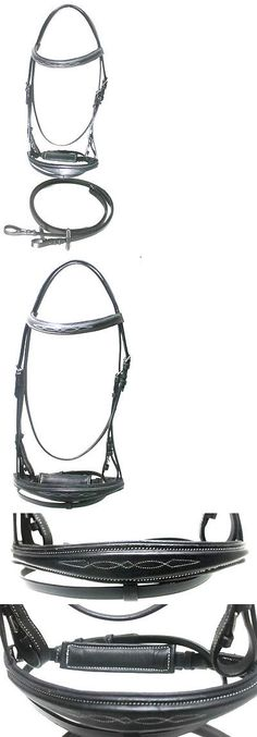 Bridles 72579: Xl Black Leather Raised Fancy Stitched English Bridle W/ Rubber Grip Reins BUY IT NOW ONLY: $37.76