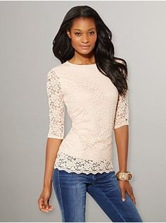 Lace Elbow-Sleeve Top from New York & Company