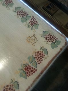 Kitchen table. Purchased a cheap $99 table at Wal-Mart, painted it antique white, used stencils and paint markers, sanded the edges and put on a clear top coat. /Cynthia Kelly ♥