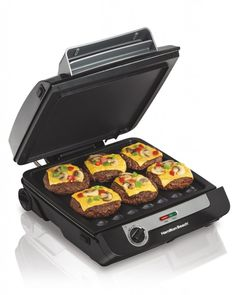 Hamilton Beach Indoor Grill & Electric Griddle Combo with Bacon Cooker, Opens Flat to Double Cooking Surface, Removable Nonstick Plates, Black & Silver Cleaning Appliances, Specialty Appliances, Small Kitchen Appliances, Kitchen Gadgets, Kitchen Stuff, House Appliances, Funny Kitchen, Kitchen Ideas, Grill Plate