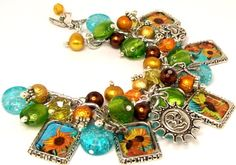Charm Bracelet Van Gogh Sunflowers Beads Picture Charms Themed Silver Plated Adjustable Vintage Floral Artists