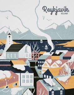 Reykjavik, Iceland Vintage Travel Poster - Love this, the retro illustration look is perfect, your traveler friends will surely appreciate it (and I would too)! Pub Vintage, Vintage Stuff, Iceland Travel, Vintage Travel Posters, Retro Posters, Movie Posters, Custom Posters, Poster Prints, Poster Poster