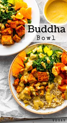 Vegan Buddha Bowl - Vegan Recipe Buddha Bowl, Tofu Recipes, Whole Food Recipes, Chicken Recipes, Grain Bowl, Food Charts, Plant Based Whole Foods, Vegan Dishes, Vegan Vegetarian