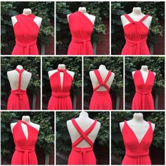 Beautiful Infinity dress Bridesmaid bright coral red stretch lycra multiway size medium by SoMonroebyElizabeth on Etsy https://www.etsy.com/listing/244505008/beautiful-infinity-dress-bridesmaid