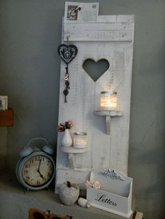 Decorative objects - Shabby DEKO shutter heart shelves wood old white - a design . - Decoration – Shabby DEKO shutter heart shelves wood old white – a unique product by shabby-home - Decoration Hall, Decoration Palette, Shabby Home, Shabby Chic Homes, Heart Shelf, Shabby Chic Hearts, Old Doors, Shabby Vintage, Wooden Crafts