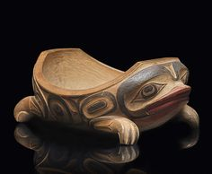 Carved red cedar frog bowl, NWC