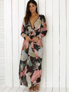 Boho Floral Long Sleeve Surplice Dress - COLORMIX XL Mobile