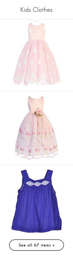 """Kids Clothes"" by adakimmorgan on Polyvore featuring dresses, kids, formal dresses, pink glitter dress, pink polka dot dress, sleeveless dress, pleated dress, long pink dress, long formal dresses and embroidered dress"