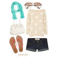 Casual and adorable Spring outfit Polka dot nude sweater, coral flip flops, jean shorts, green scarf and white purse