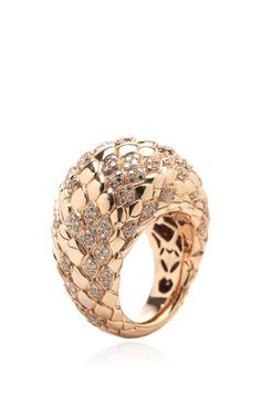 Dome ring with diamonds by BIBI VAN DER VELDEN for Preorder on Moda Operandi