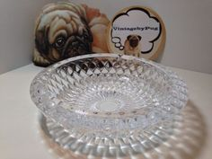 Vintage Cut Crystal Round Ashtray with Sunburst Pattern on Base *NO RESERVE*