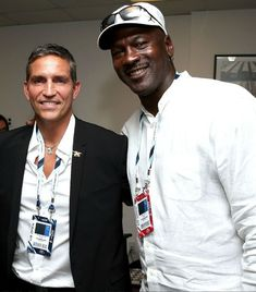 It takes a giant like Michael Jordan to make Jim Caviezel look short!