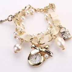 New Fashion Women's Beads Strap Hanging Chain Watch Wristwatch