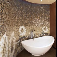Wow! That is beautiful.  Custom wallpaper by Granite Transformations.