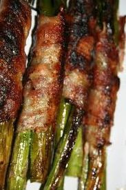 Bacon Wrapped Asparagus (Grilled)..this made asparagus lovers out of James, Madison and me.  Madison regularly asks for this now.  2012