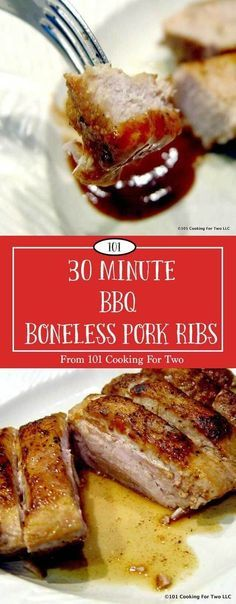 30 Minute BBQ Boneless Pork Ribs Moist and tasty country style BBQ boneless ribs in only 30 minutes. A little pan searing, coat with BBQ sauce and finish in the oven. Oven Pork Ribs, Ribs Recipe Oven, Country Ribs Oven, Country Style Pork Ribs, How To Cook Ribs, How To Cook Steak, Baked Ribs, Oven Baked, Recipes