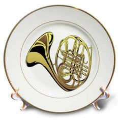 3dRose Large Gold French Horn, Porcelain Plate, 8-inch