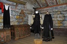 National Costumes (Bunader) and Rose Painting (Rosemaling) at Heddal Rural Museum, in Heddal, Telemark County, Norway. http://heddal.visitvemork.no/