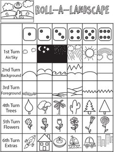 Roll a Dice Landscape Drawing Game for Kids Art Games For Kids, Drawing Games For Kids, Drawing Activities, Art Drawings For Kids, Activities For Kids, Projects For Kids, Art Projects, Crafts For Kids, Arts And Crafts