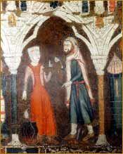 San Isidro Labrador y su esposa. Detalle del arcón funerario, en la catedral de La Almudena. 13th c.