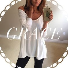 • Reserved • for Grace • White Soft Dolman Top (S) • Blue Stone Gold Fringe Necklace Other