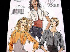 Vogue Bolero Jacket Pattern Misses size 14 16 18 20 UNCUT Short Above Waist Jacket by PatternsFromThePast