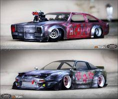 A couple of my old drifters. Yes, very dirty and colourful!! RC car Its ACCA DACCA Torana vs Kimono 180. #jdm #japan #japaneseart #datsun #gtr #kenmeri #risingsun #damaged #nissan #nismo #scale #drift #photography #art #creative #terminator #beastfuck #stanceworks #stancenation #topgear #rcmart2001 #oldschool #holden #torana #acdc