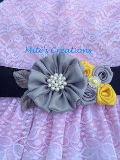 Silver Flower Wedding Sash/Bridesmaids/Flowergirl/Special Event Sash