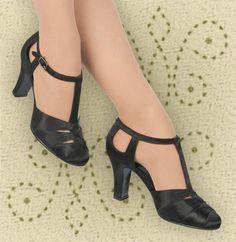 acaa1719eba0 Aris Allen Black Satin 1930s T-Strap d Orsay Dance Shoes for Narrow Feet