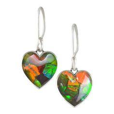 Ammolite Mosaic Heart Dangle Sterling Silver Earrings 29SLE$149.99#ammolite #korite #ammonite #fengshui #canada #canadagems #canadianammolite #gemstones #jewelry #jewelryaddict #photooftheday #jewelryoftheday #jewelrygram #colorful #gem #gems #opal #minerals #natureinspired #rainbow #alberta #fossil #Alaska #followersofinstagram #isellrocks #art #handmade #lapidary #madeinmontana #ammolite #lgbtq