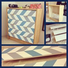 IKEA HACK! I took an IKEA Rast dresser and did a simple upcycle using an alternating tri-colour chevron pattern.  Painted the drawer fronts white and let them dry before I measured and pencilled in the chevron pattern. Using painter's tape, I taped off the top half of each front, painted in the blue and grey, removed the tape and let it dry before repeating the same process on the bottom half. I also switched in new bronze knobs (also from IKEA), and stained the body using an antique finish.