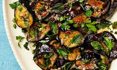 Yotam Ottolenghi's roast aubergine with anchovies and oregano - replace anchovies with capers/miso/kalamata olives Yotam Ottolenghi, Ottolenghi Recipes, Healthy Recipes, New Recipes, Vegetarian Recipes, Cooking Recipes, Favorite Recipes, Vegetarian Dish, Salads