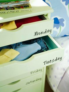 Cut down morning stress by sorting clothes for kids at the beginning of the week. More bedroom storage solutions: http://www.bhg.com/decorating/storage/projects/bedroom-storage-solutions/?socsrc=bhgpin081412dailyclothesorganization#page=13