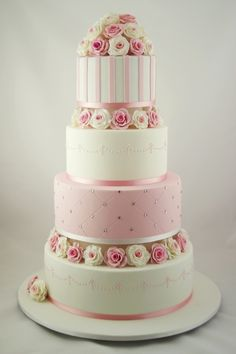 Pretty and Pink wedding cake By: Taste_Cake_Design 4 Tier Wedding Cake, Round Wedding Cakes, Beautiful Wedding Cakes, Gorgeous Cakes, Wedding Cake Designs, Pretty Cakes, Cute Cakes, Elegant Wedding, Amazing Cakes