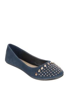 Diamante Studded Suede Ballerina Flats LARRIE 1,400 THB