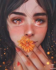 Midsummer Gaze by taozipie on DeviantArt Digital Art Anime, Digital Art Girl, Digital Portrait, Portrait Art, Girly Drawings, Pretty Drawings, Cool Art Drawings, Dibujos Tumblr A Color, Cute Girl Drawing