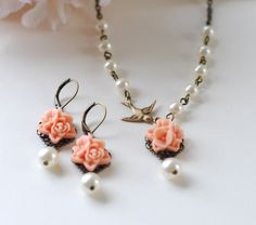 Salmon Pink Flower Swarovski Ivory Pearls Brass Swallow Bird Necklace and Earrings Set. Bridal Jewelry Set. Bridesmaid Gift
