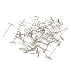 Jili Online Box of 50 Pieces Stainless Steel T-Shape Needles Pins Hair Weaving Tools for Wigs Toupee Fixed 38mm  Good condition, sturdy and works well  Useful tools for you making DIY  Great for Jewelry making, wigs making, holding hairpieces and other crafts.  Material: Stainless steel  Size: Approx. 38x1mm/1.5x0.04inch