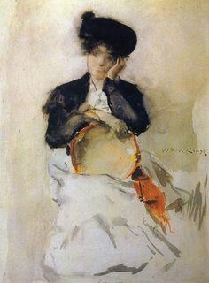 William Merritt Chase: Girl with Tambourine. 1886