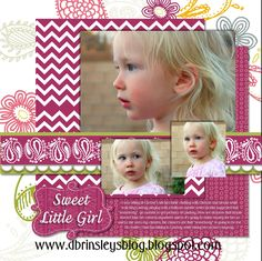 Sweet Little Girl Digital Scrapbook Layout idea   #digitalscrapbooking